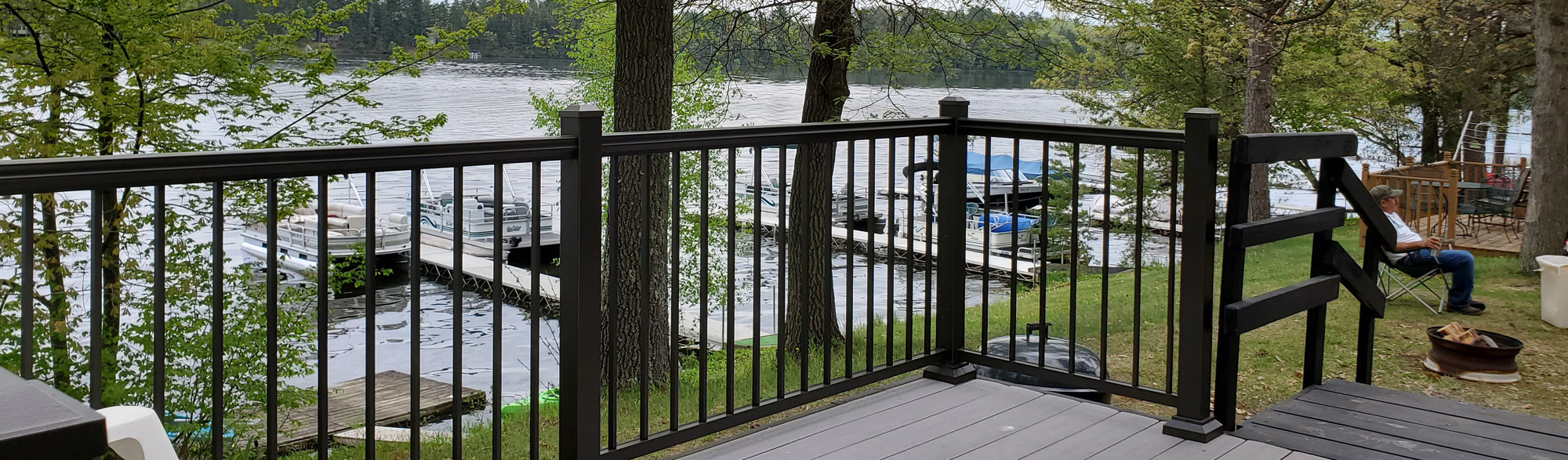 Cottage deck overlooking Cyclone Lake